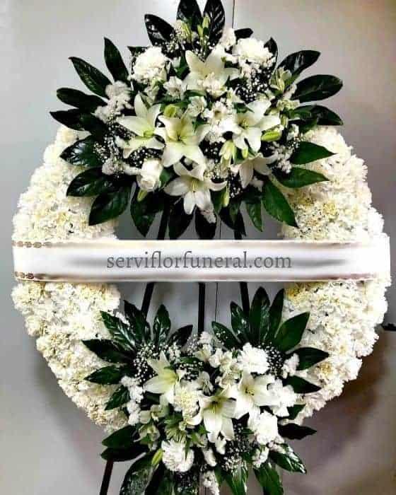 corona funeraria paz Azalea flores blancas