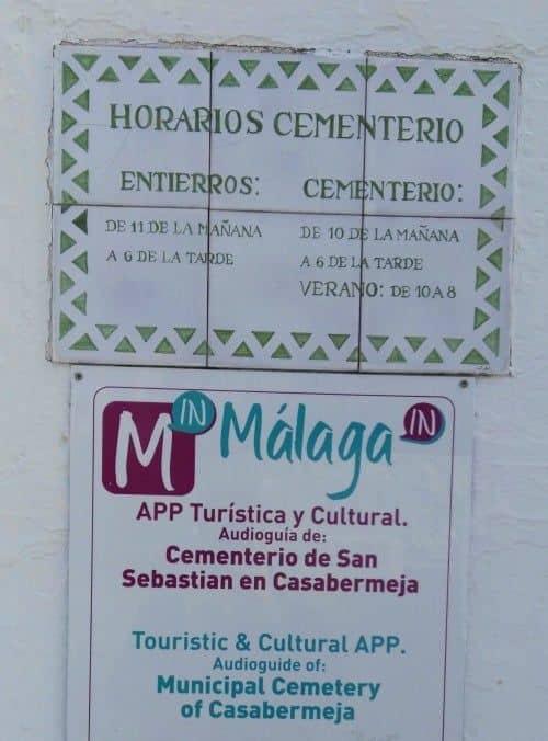 Cementerio de Casabermeja, imagen  horario de los entierros