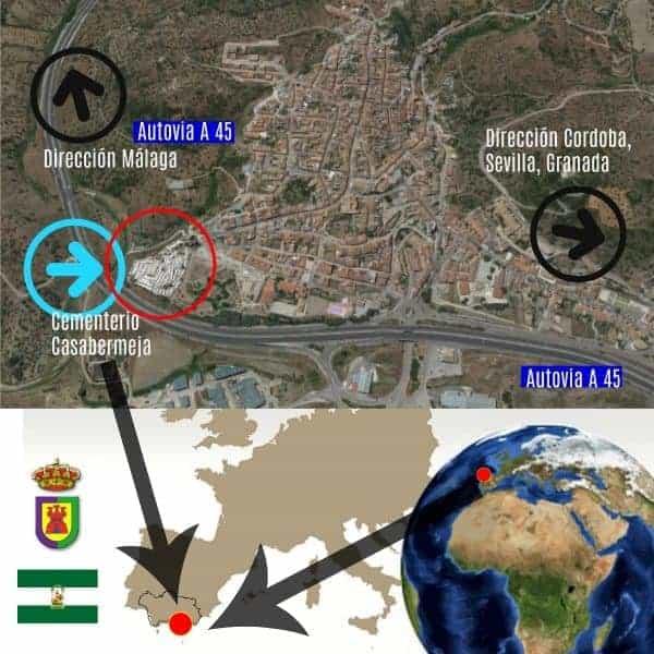 Cementerio de Casabermeja mapa de situación mostrando al mundo donde está ubicado el Cementerio de Casabermeja en la provincia de Málaga
