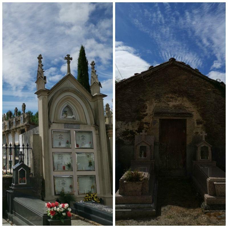 Cementerio de Lavacolla, imagen donde se compara sepulturas antiguas con las mas modernas