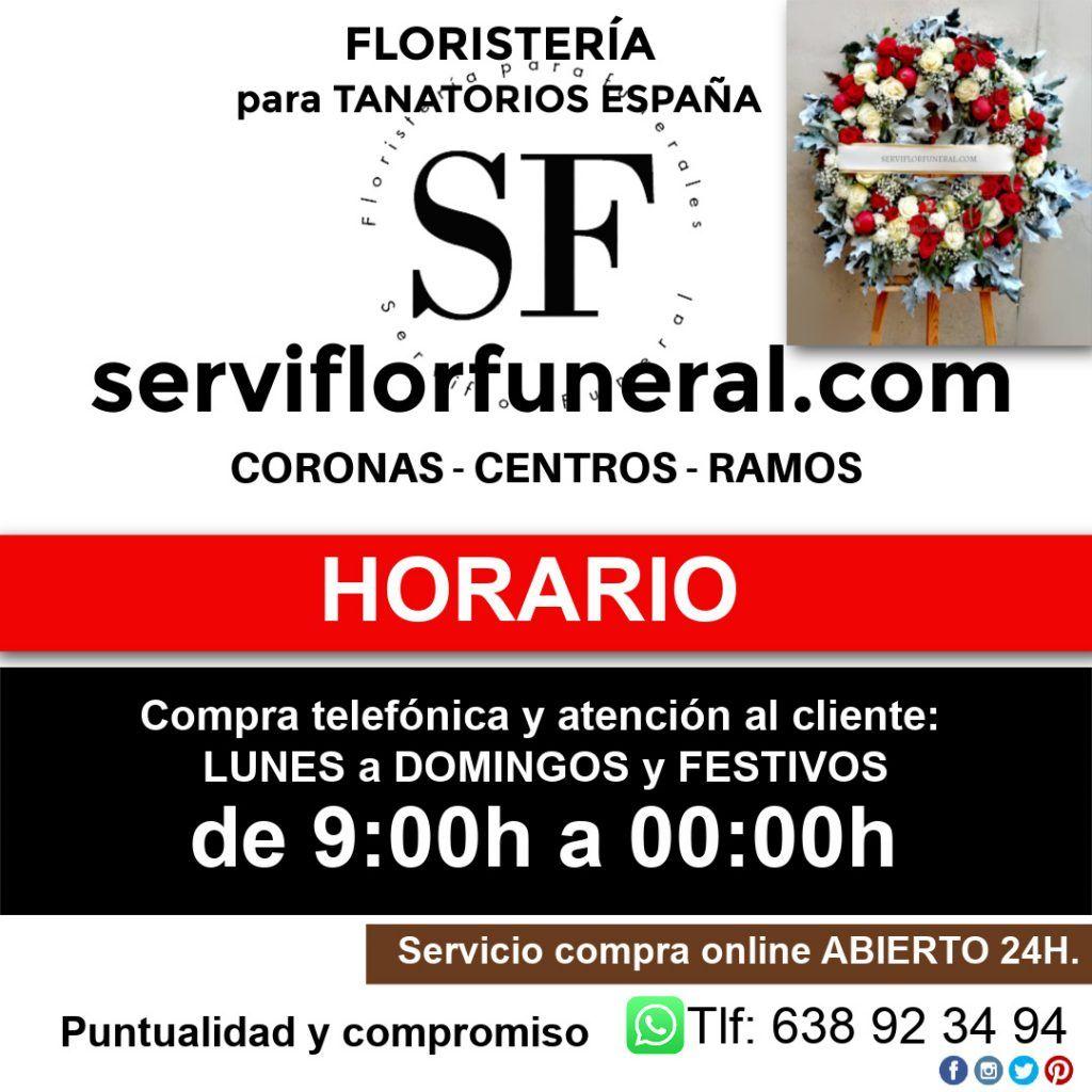 Horario flores para difuntos a España